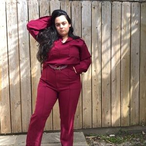 INCREDIBLE VINTAGE 70's MAROON POLY JUMPSUIT 🍒